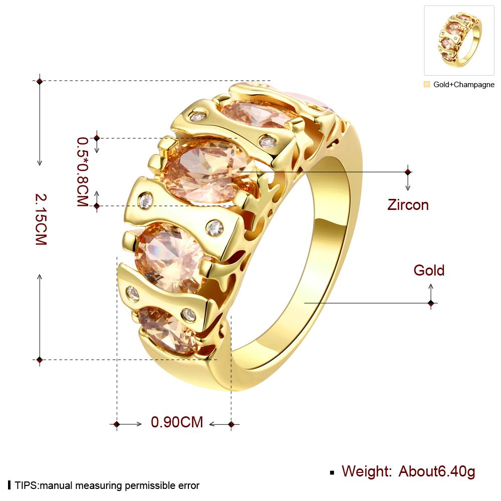 Wholesale Classic 24K Gold Geometric Brown CZ Ring TGGPR875 0