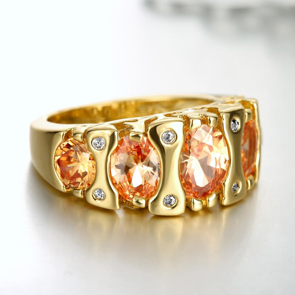 Wholesale Classic 24K Gold Geometric Brown CZ Ring TGGPR875 3