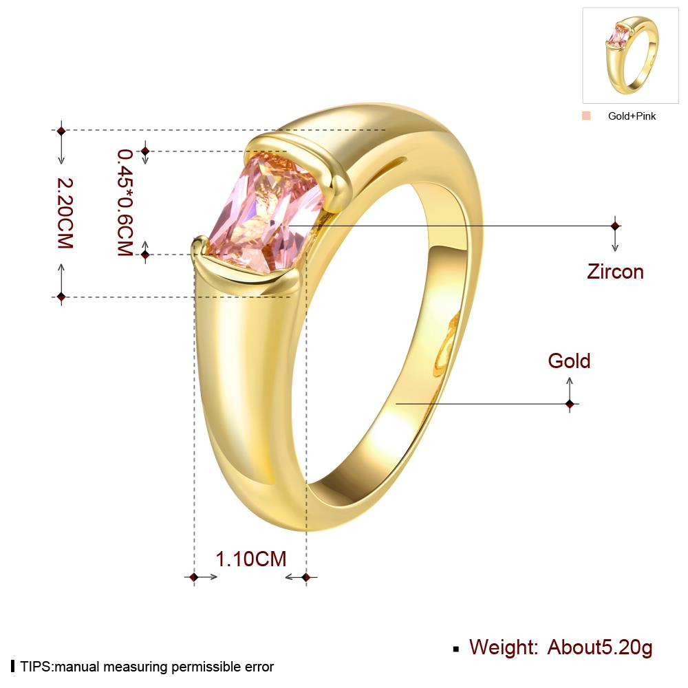 Wholesale Classic 24K Gold Geometric White CZ Ring TGGPR909 0
