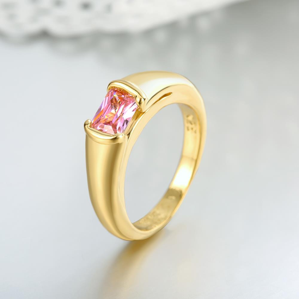 Wholesale Classic 24K Gold Geometric White CZ Ring TGGPR909 2