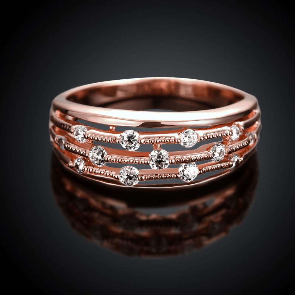 Wholesale Classic Rose Gold Geometric White CZ Ring TGGPR916 0