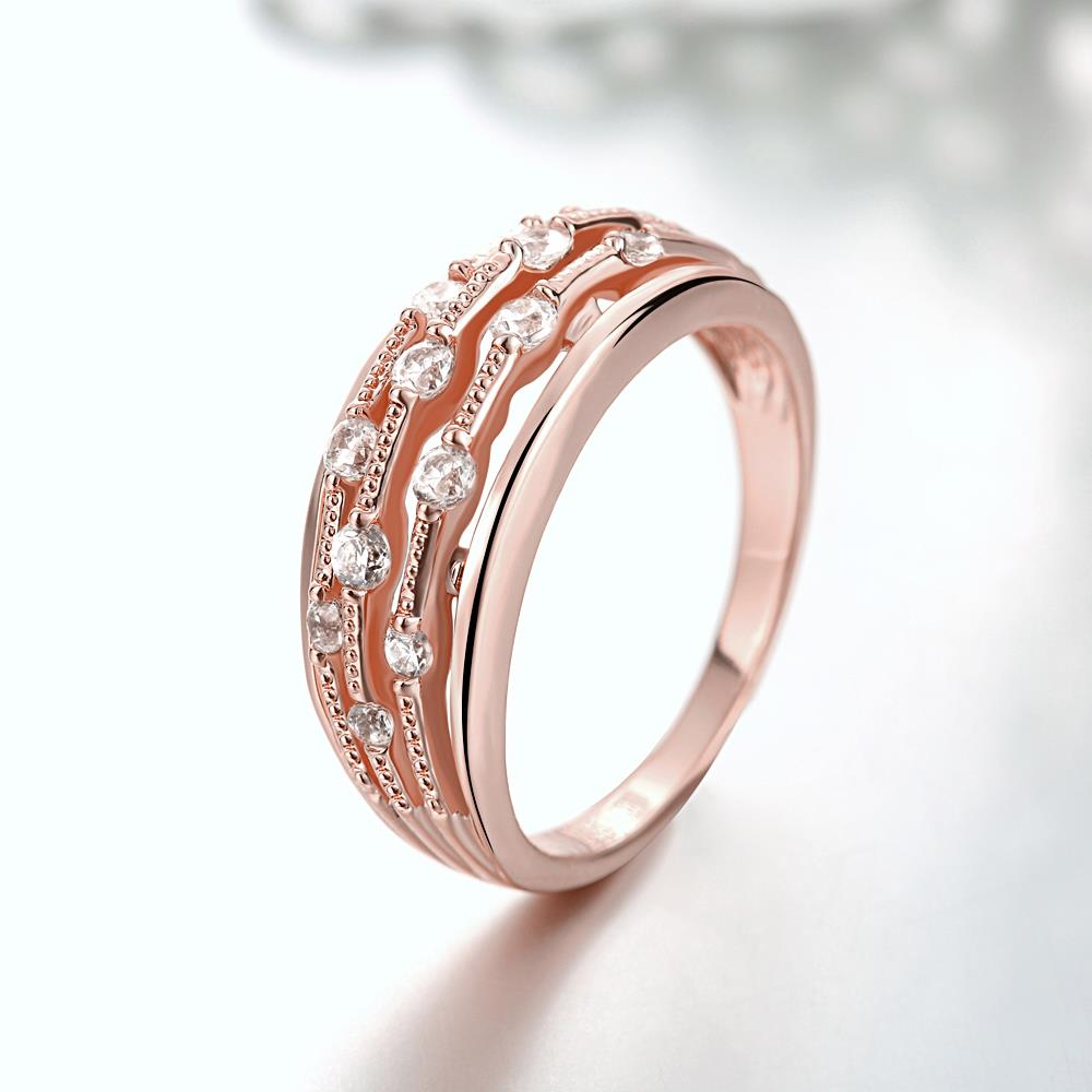 Wholesale Classic Rose Gold Geometric White CZ Ring TGGPR916 1