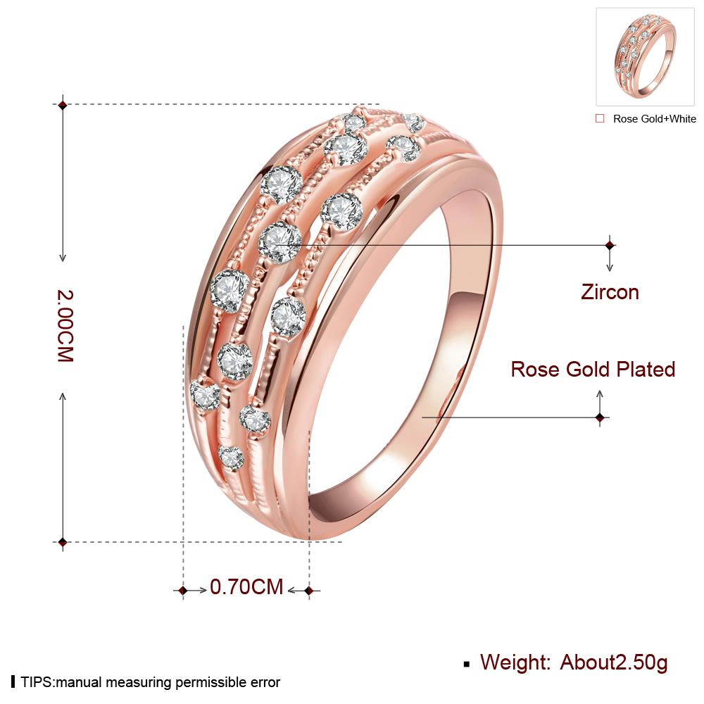 Wholesale Classic Rose Gold Geometric White CZ Ring TGGPR916 2