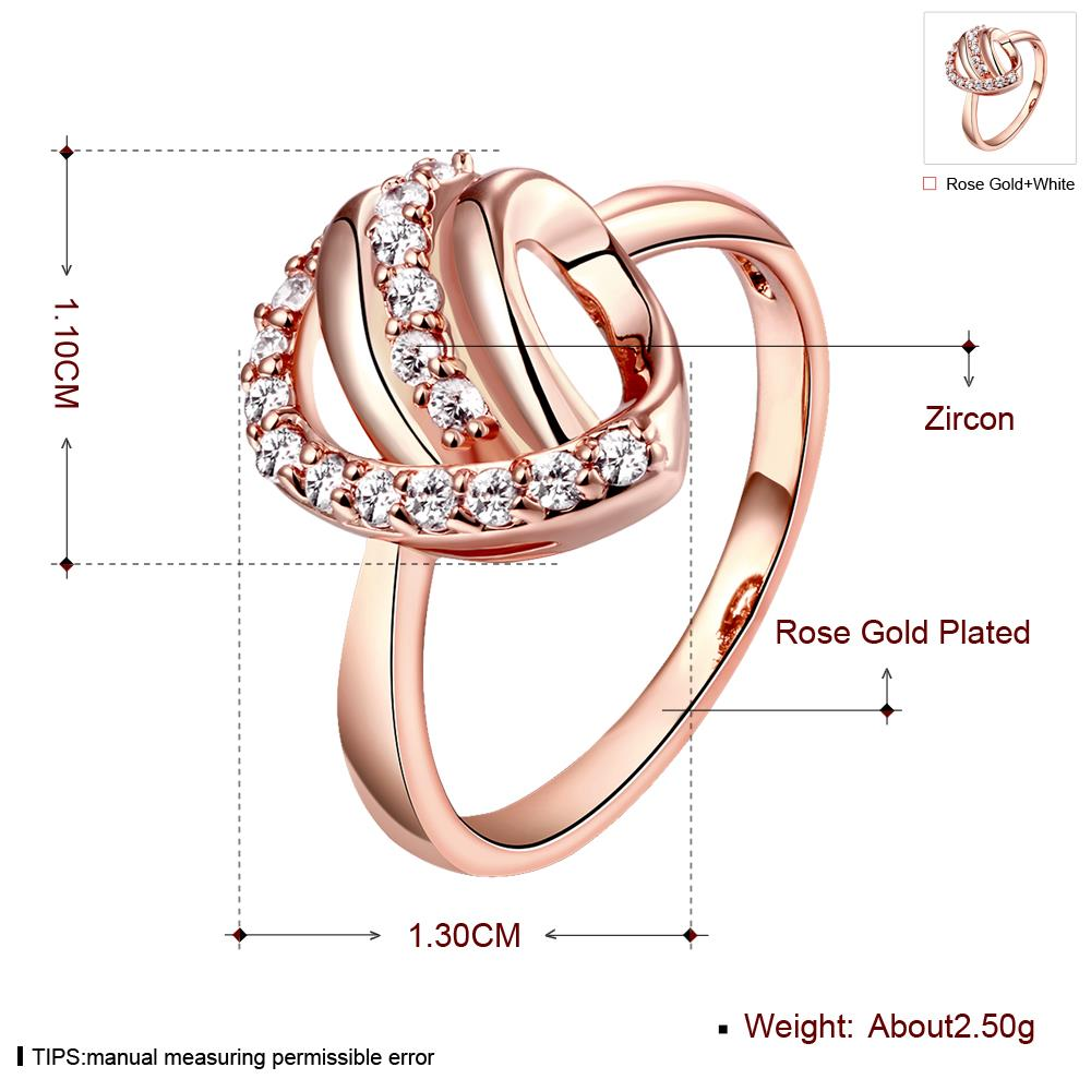 Wholesale Classic Rose Gold Heart White CZ Ring TGGPR959 0