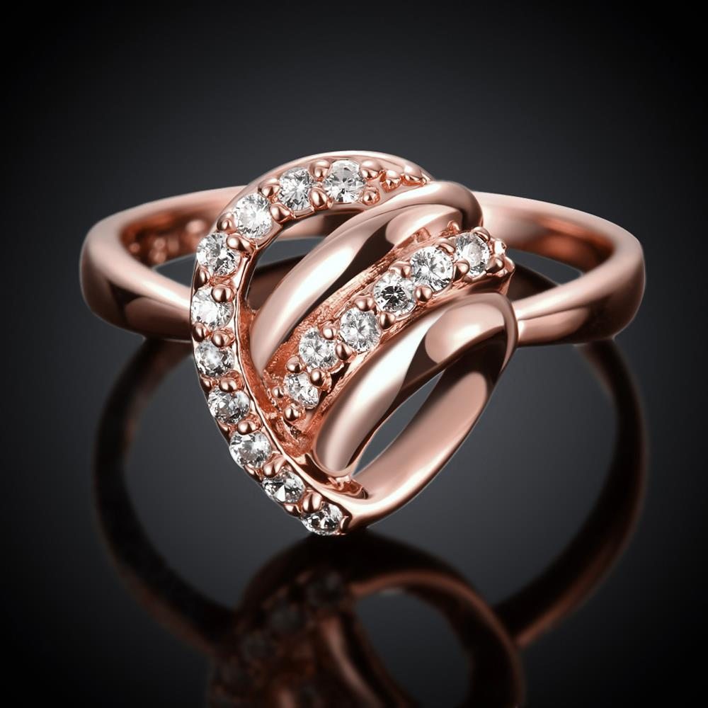 Wholesale Classic Rose Gold Heart White CZ Ring TGGPR959 1