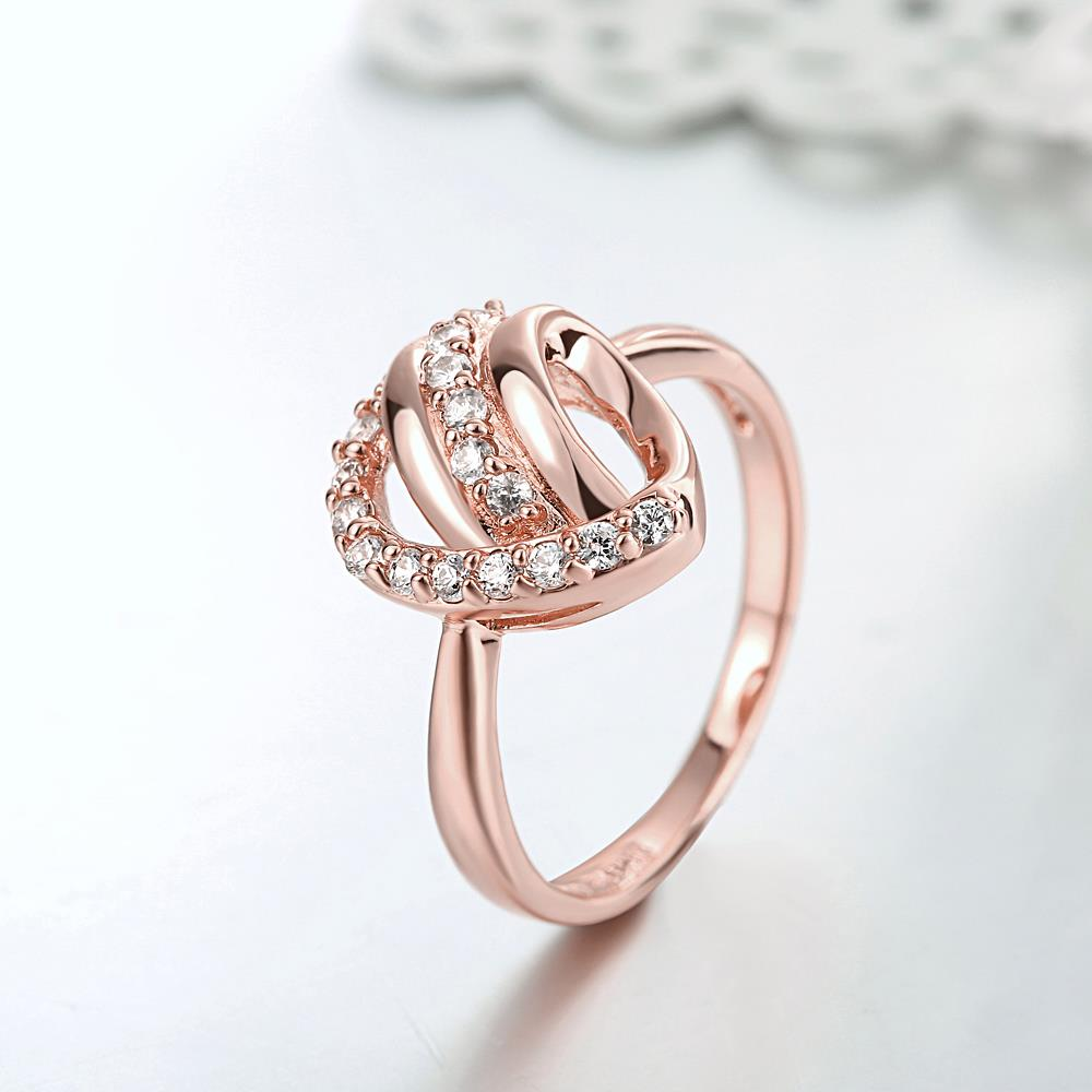 Wholesale Classic Rose Gold Heart White CZ Ring TGGPR959 2