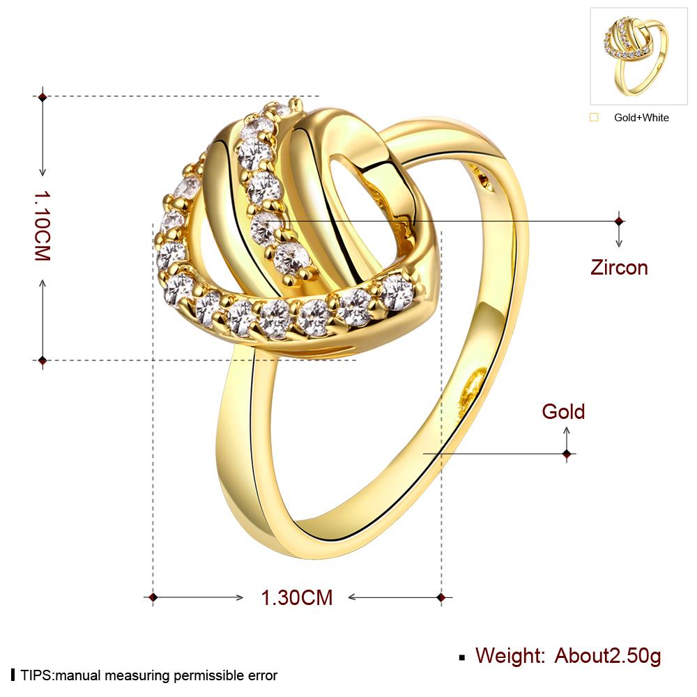 Wholesale Classic 24K Gold Heart White CZ Ring TGGPR966 0