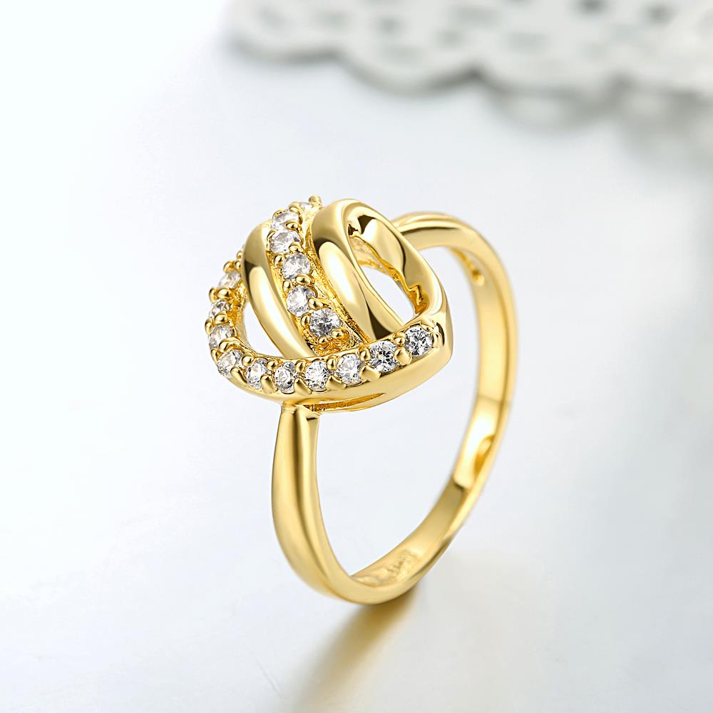 Wholesale Classic 24K Gold Heart White CZ Ring TGGPR966 2