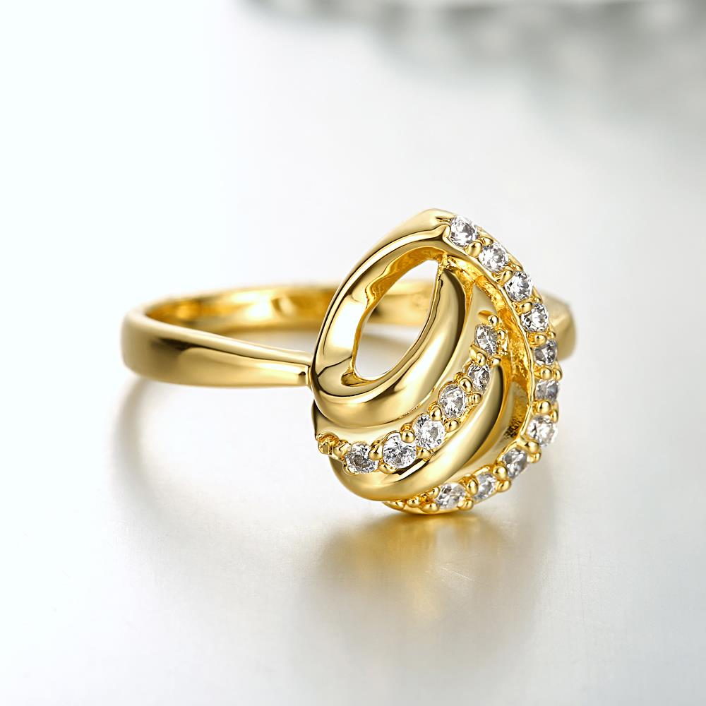 Wholesale Classic 24K Gold Heart White CZ Ring TGGPR966 3