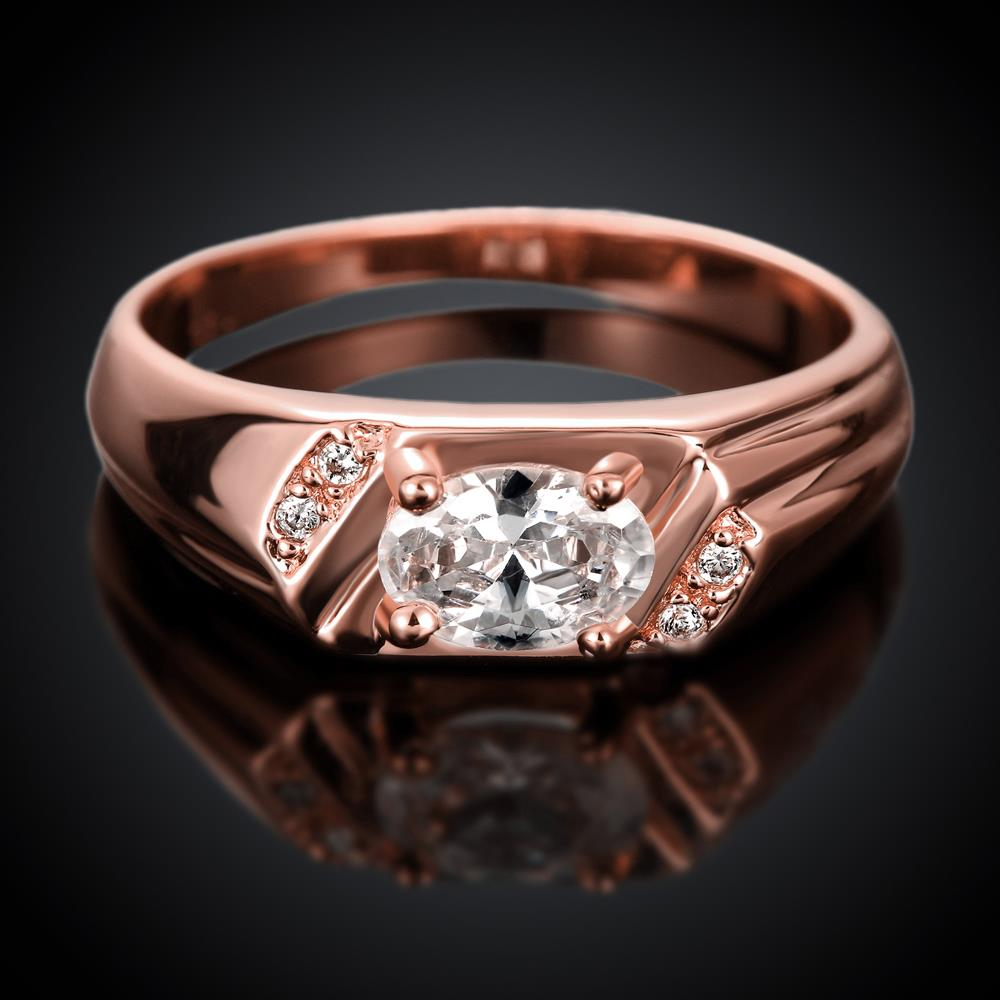 Wholesale Classic Rose Gold Round White CZ Ring TGGPR973 1