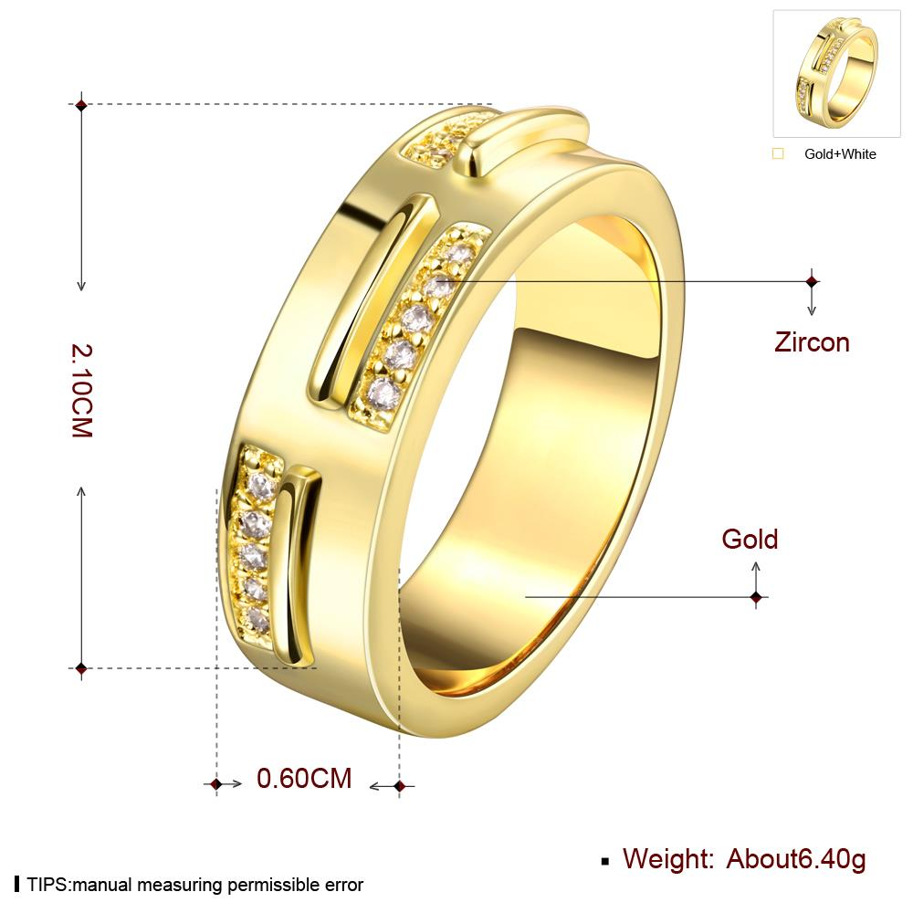 Wholesale Classic 24K Gold Geometric White CZ Ring TGGPR1006 0