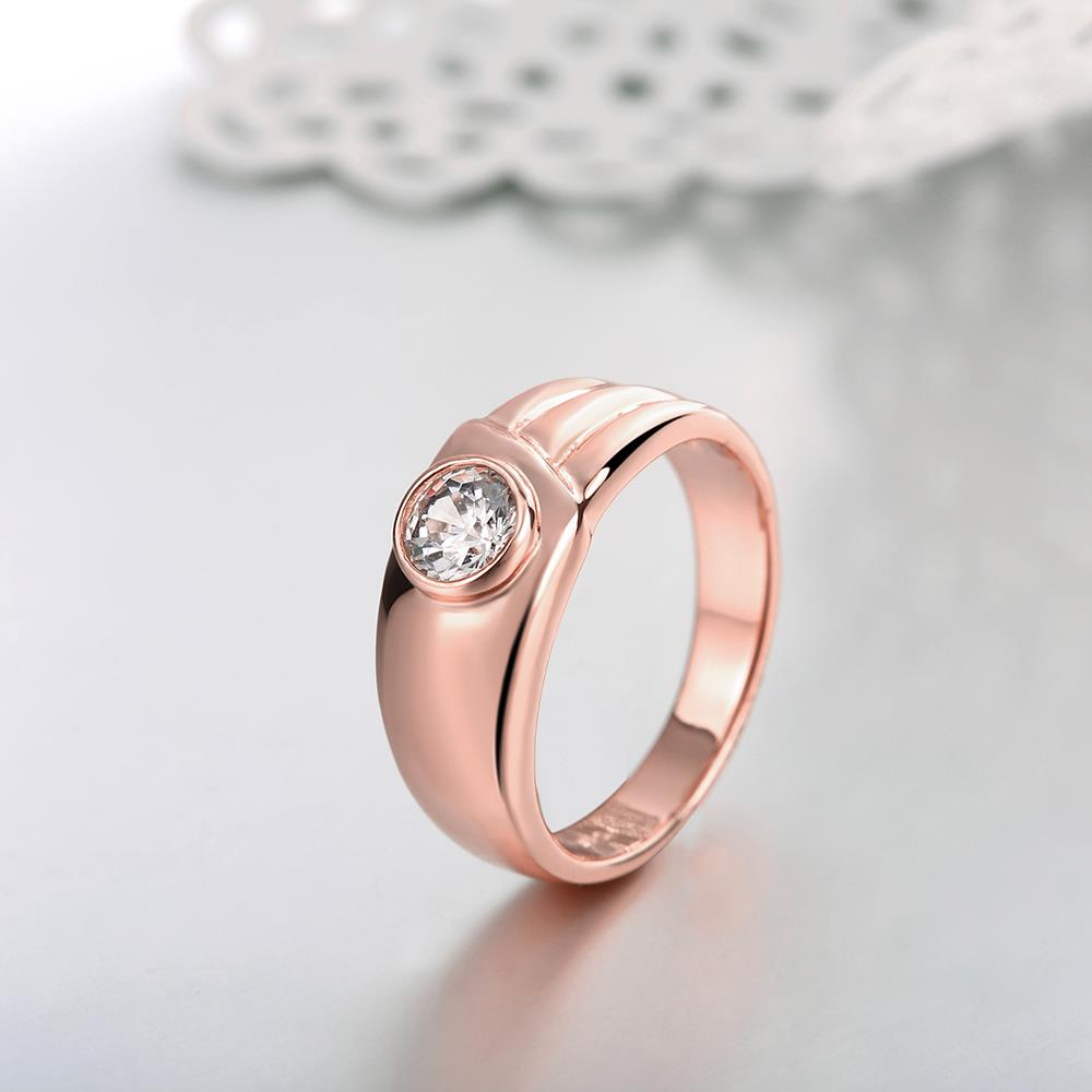 Wholesale Classic Rose Gold Round White CZ Ring TGGPR1026 2