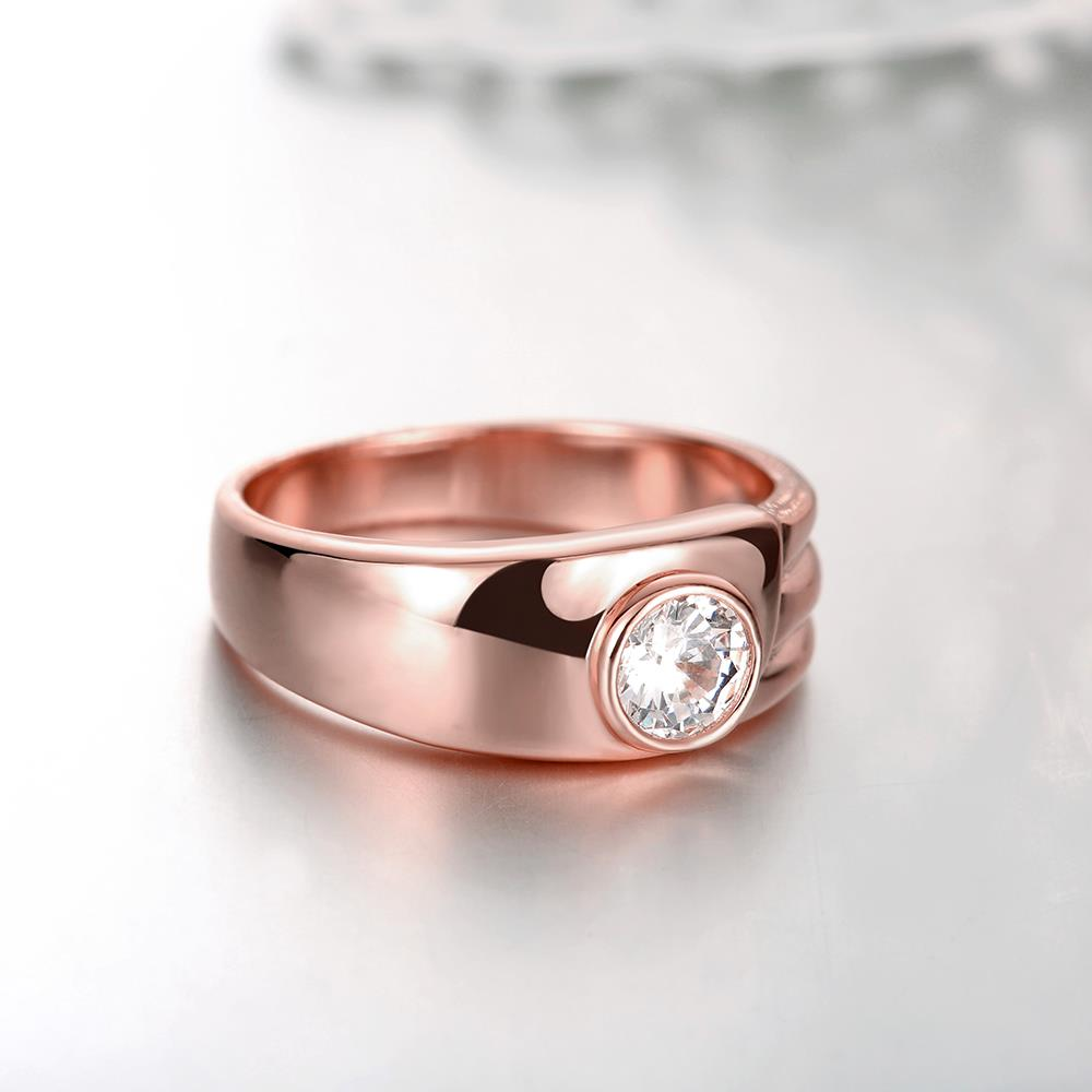 Wholesale Classic Rose Gold Round White CZ Ring TGGPR1026 3