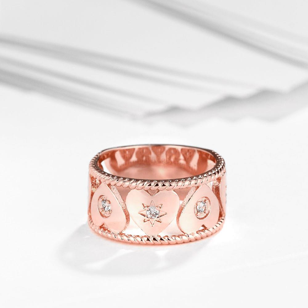 Wholesale Trendy Rose Gold Geometric White CZ Ring TGGPR1063 2