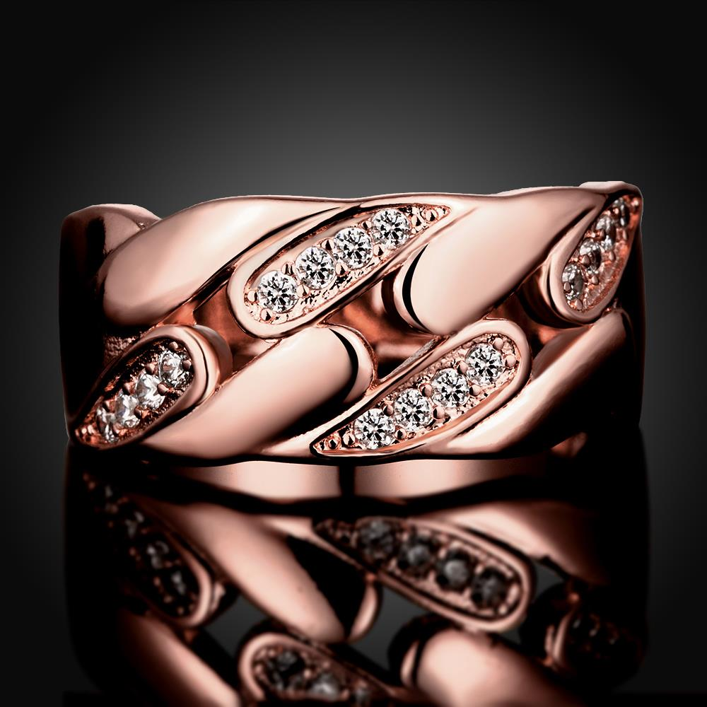 Wholesale Romantic Rose Gold Geometric White CZ Ring TGGPR1084 1