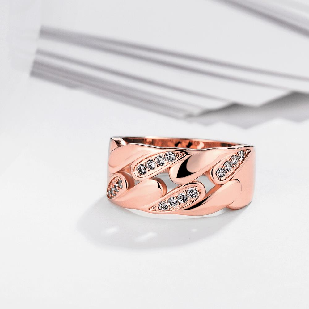 Wholesale Romantic Rose Gold Geometric White CZ Ring TGGPR1084 2