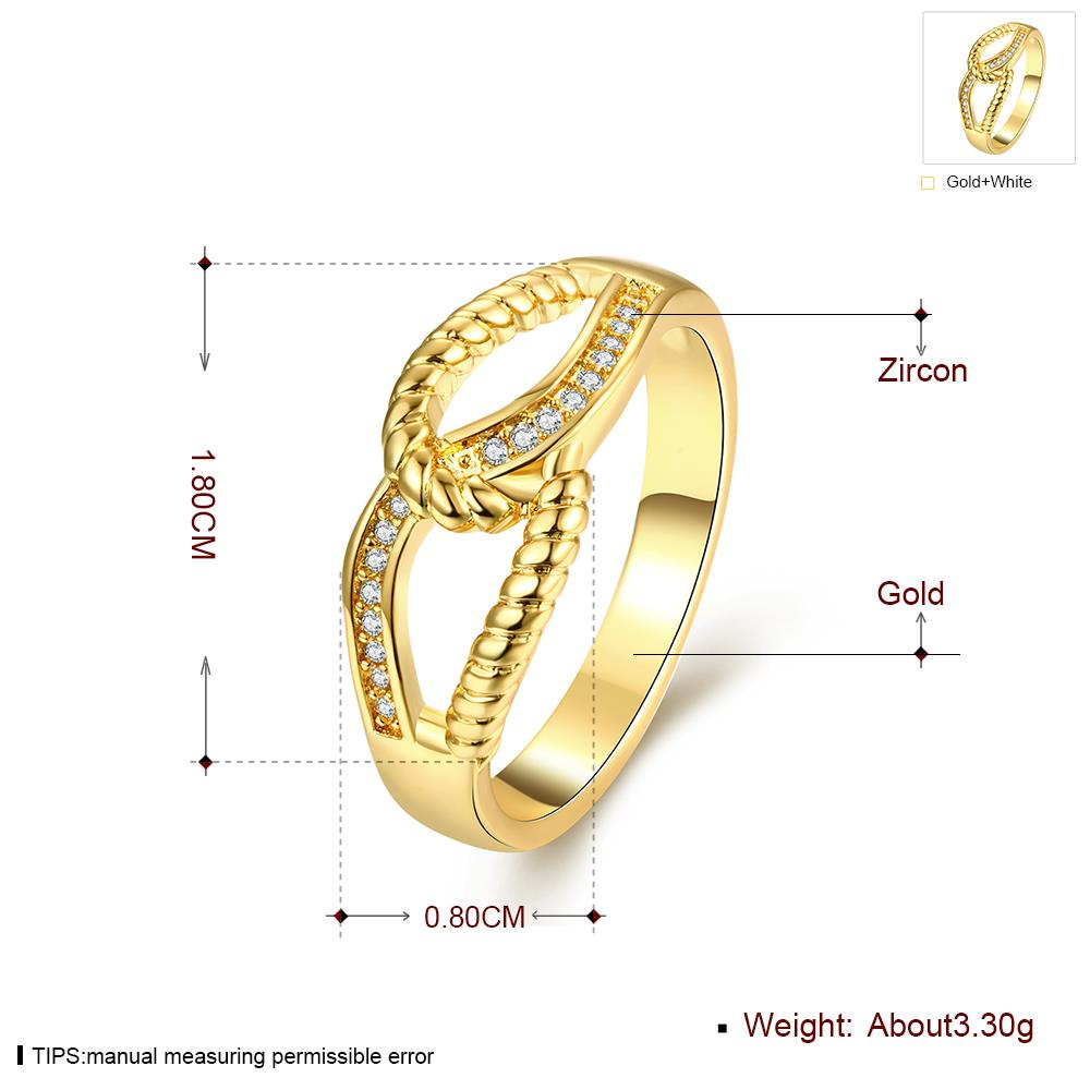 Wholesale Classic 24K Gold Feather White CZ Ring TGGPR1180 0