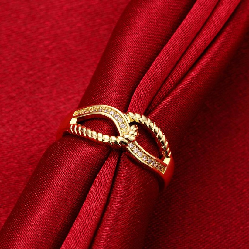 Wholesale Classic 24K Gold Feather White CZ Ring TGGPR1180 2