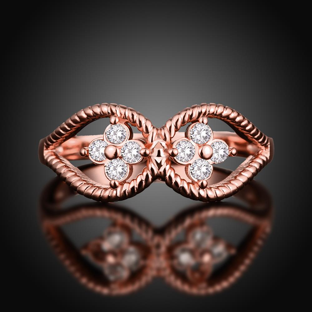 Wholesale Romantic Rose Gold Plant White CZ Ring TGGPR1236 0