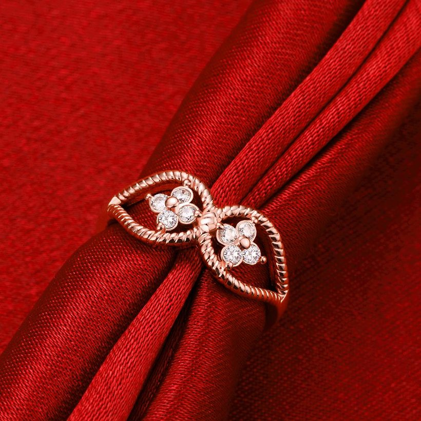 Wholesale Romantic Rose Gold Plant White CZ Ring TGGPR1236 1