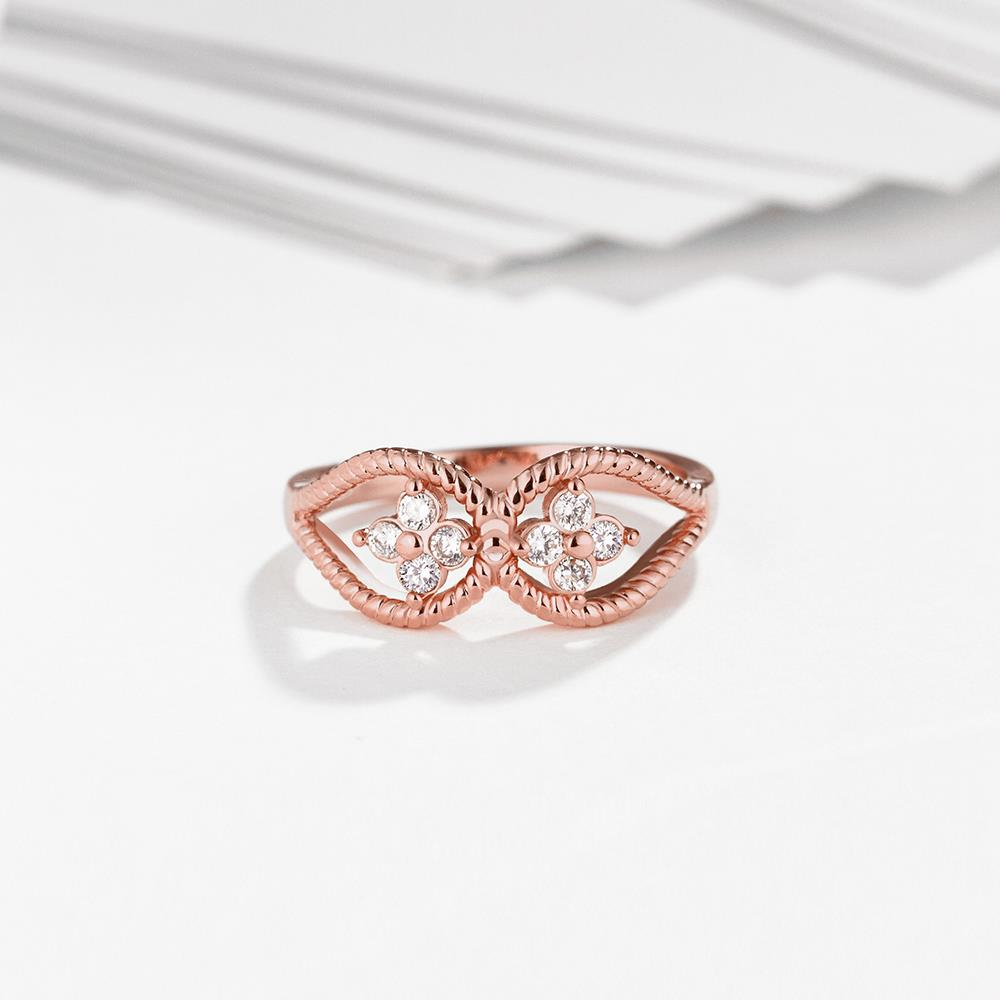 Wholesale Romantic Rose Gold Plant White CZ Ring TGGPR1236 2