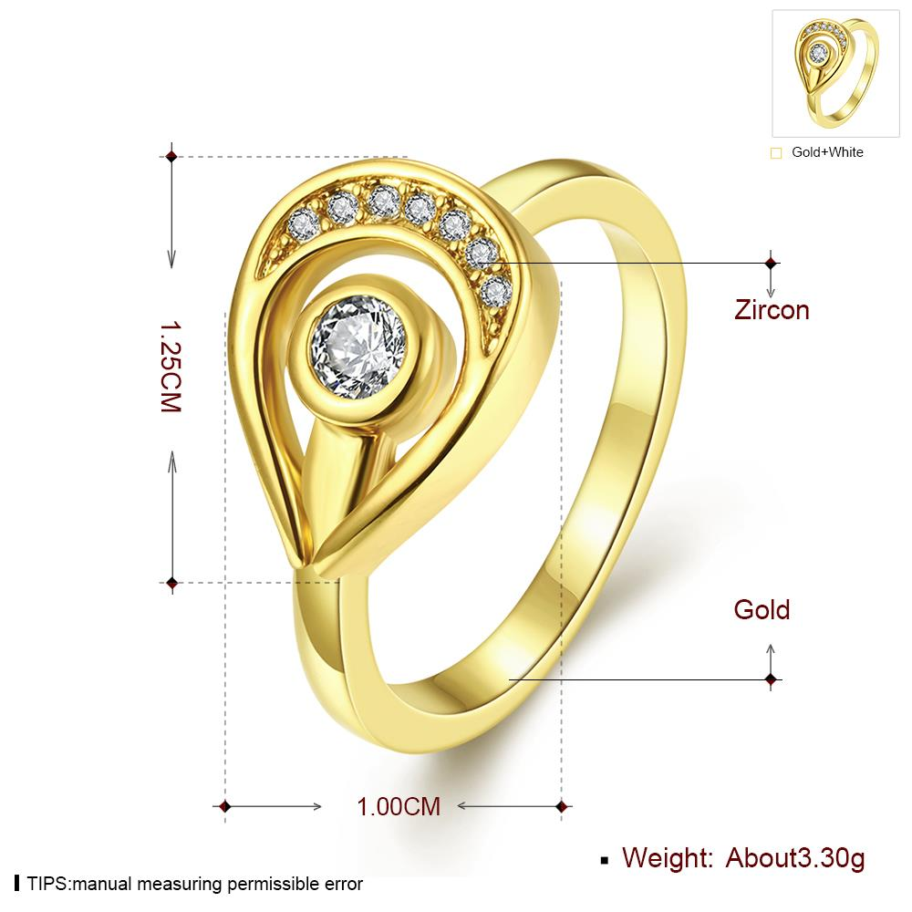 Wholesale Trendy 24K Gold Water Drop White CZ Ring TGGPR1249 0