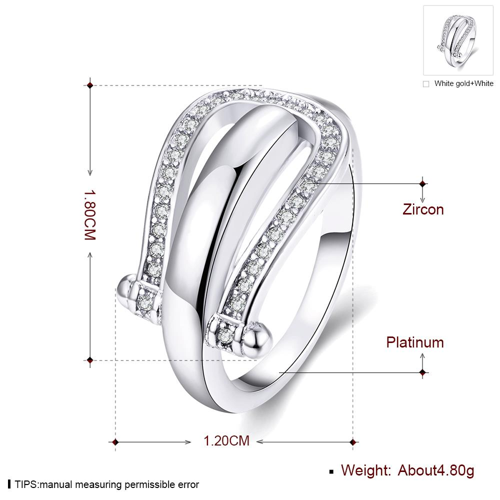 Wholesale Trendy Platinum Geometric White CZ Ring TGGPR1279 0