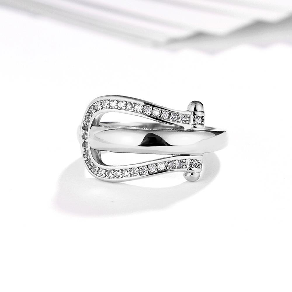 Wholesale Trendy Platinum Geometric White CZ Ring TGGPR1279 3