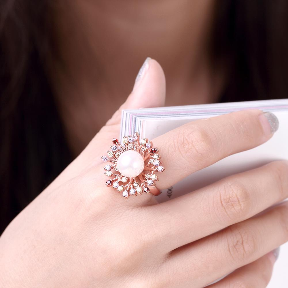 Wholesale Classic Rose Gold Plant Multicolor CZ Ring TGGPR1298 2