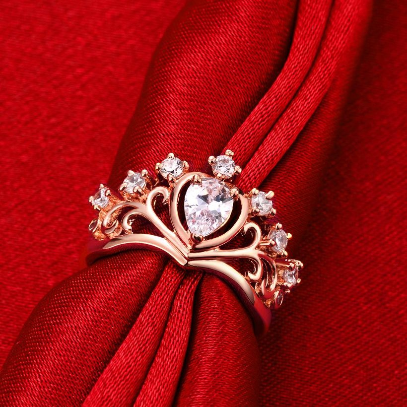 Wholesale Romantic Rose Gold Heart White CZ Ring TGGPR005 0