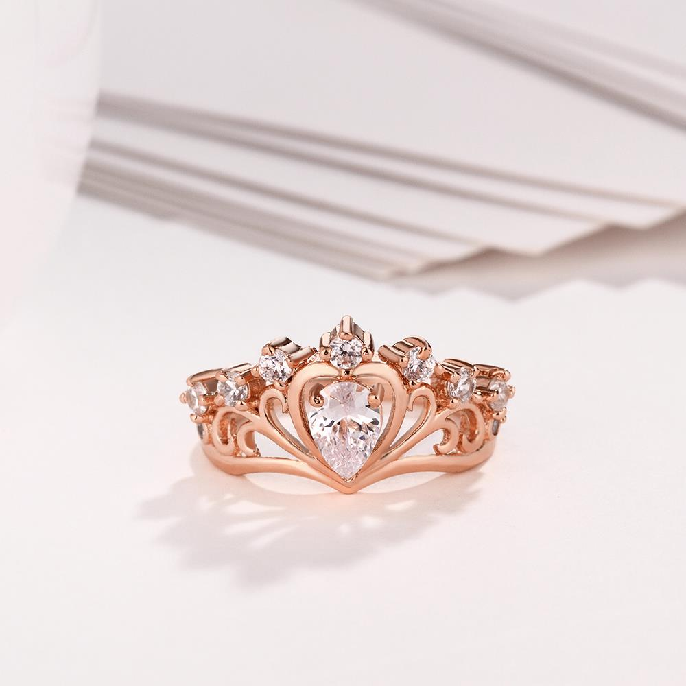 Wholesale Romantic Rose Gold Heart White CZ Ring TGGPR005 1