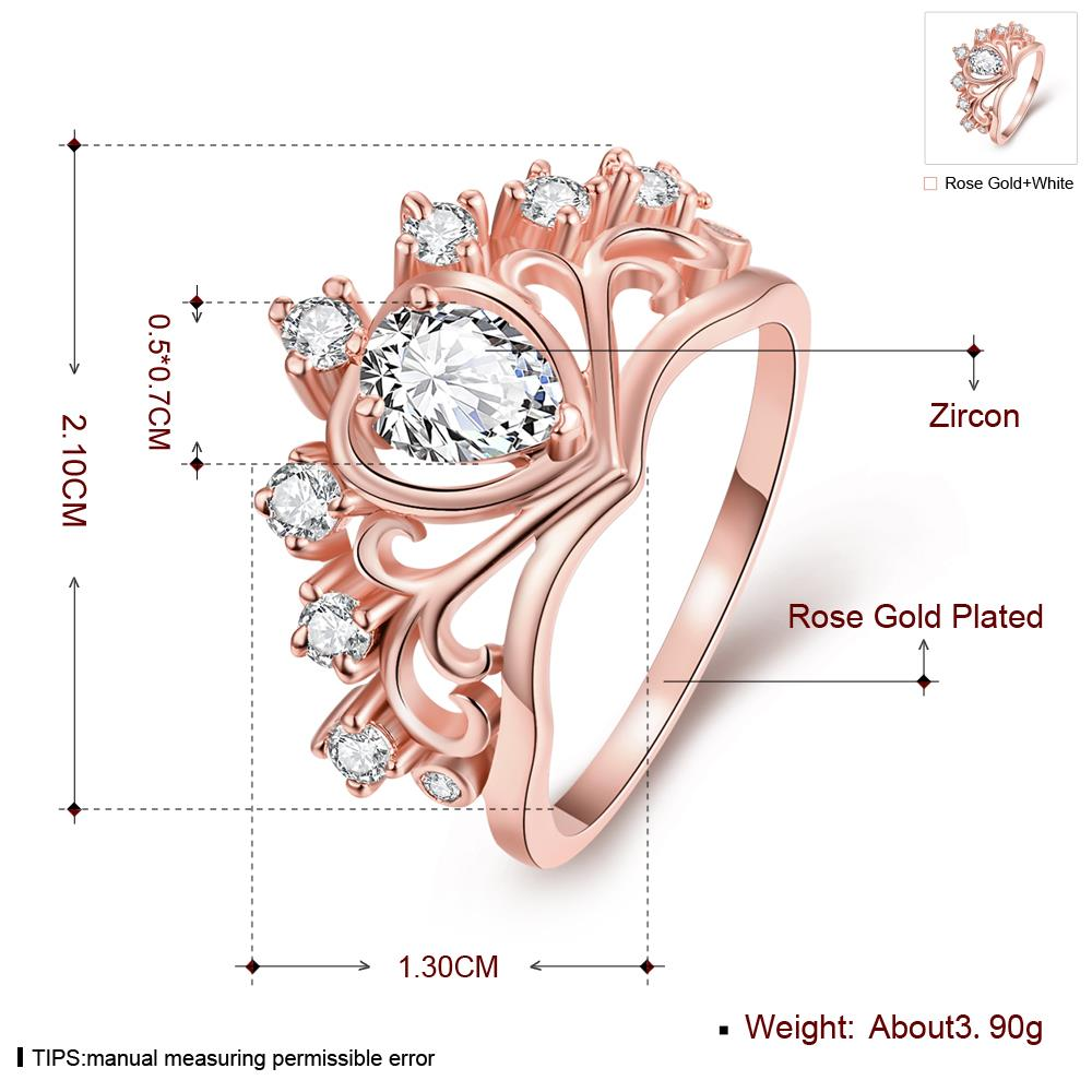 Wholesale Romantic Rose Gold Heart White CZ Ring TGGPR005 3