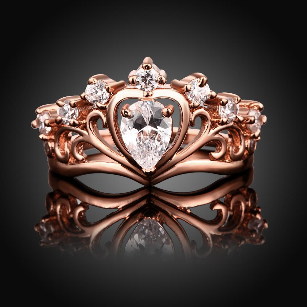 Wholesale Romantic Rose Gold Heart White CZ Ring TGGPR005 4