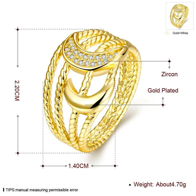 Wholesale Classic 24K Gold Moon White CZ Ring TGGPR209 0