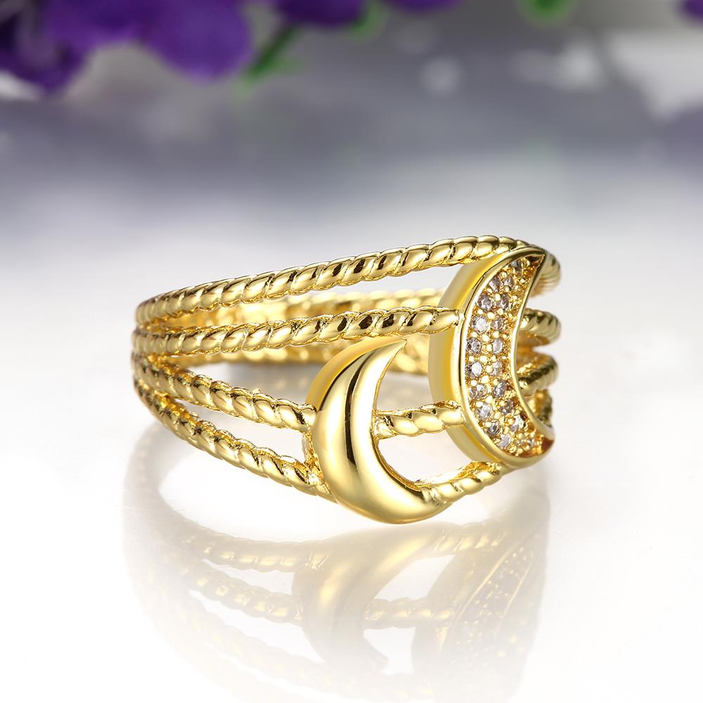 Wholesale Classic 24K Gold Moon White CZ Ring TGGPR209 2