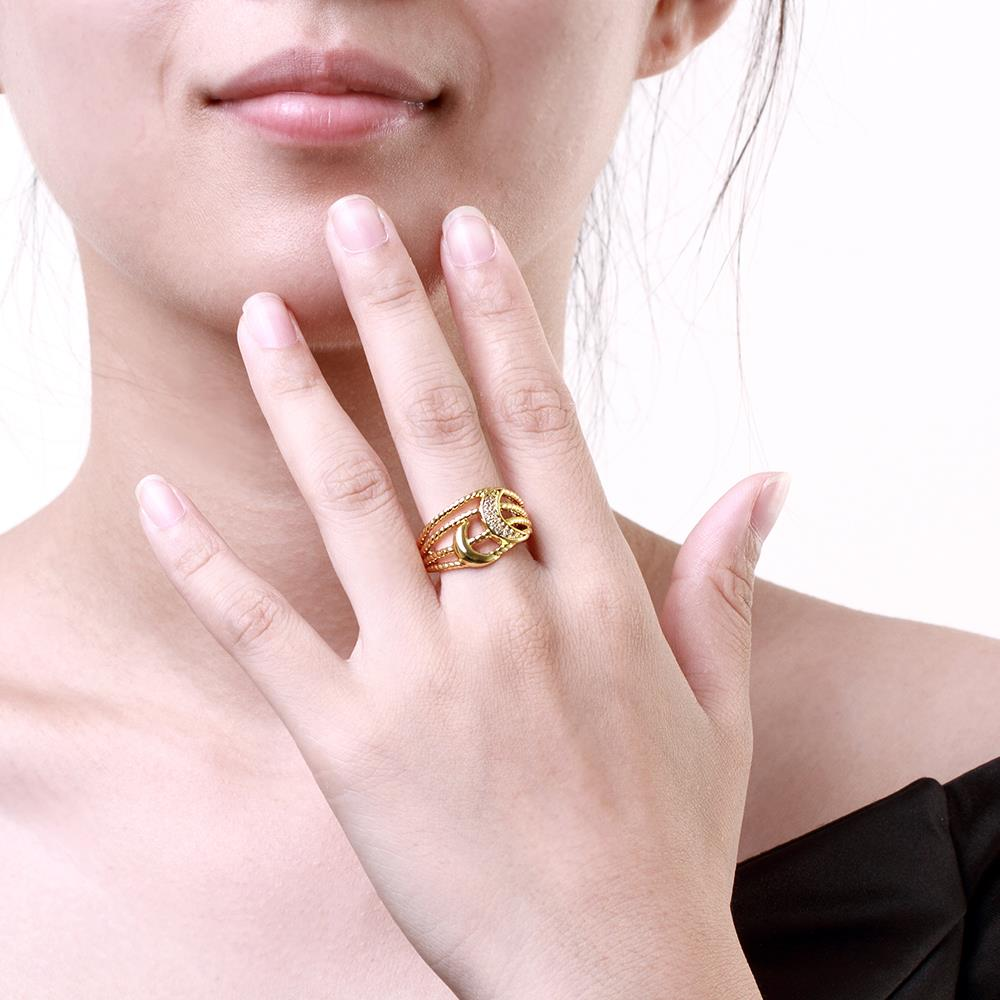 Wholesale Classic 24K Gold Moon White CZ Ring TGGPR209 4