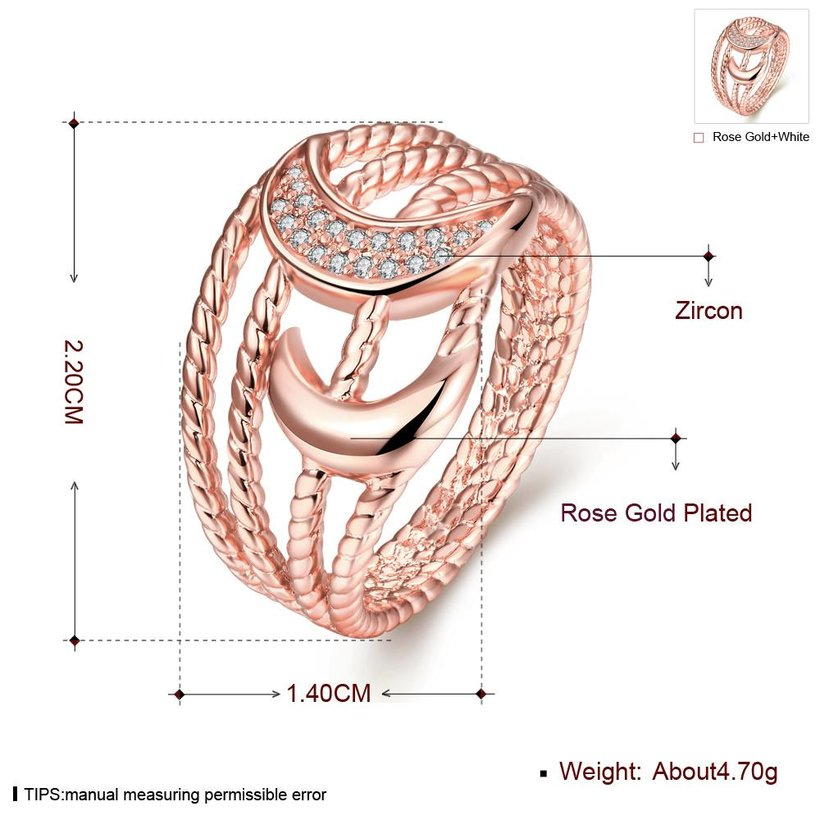 Wholesale Classic Rose Gold Moon White CZ Ring TGGPR216 0