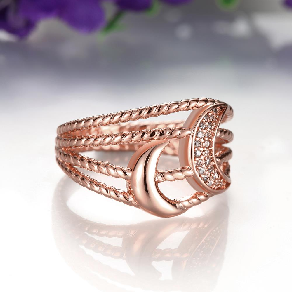 Wholesale Classic Rose Gold Moon White CZ Ring TGGPR216 2