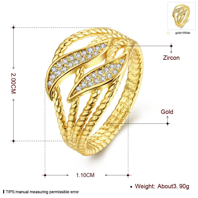 Wholesale Trendy 24K Gold Plant White CZ Ring TGGPR223 0