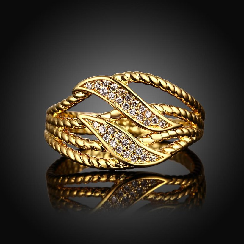 Wholesale Trendy 24K Gold Plant White CZ Ring TGGPR223 1