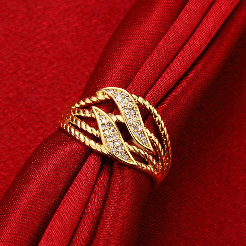 Wholesale Trendy 24K Gold Plant White CZ Ring TGGPR223 2