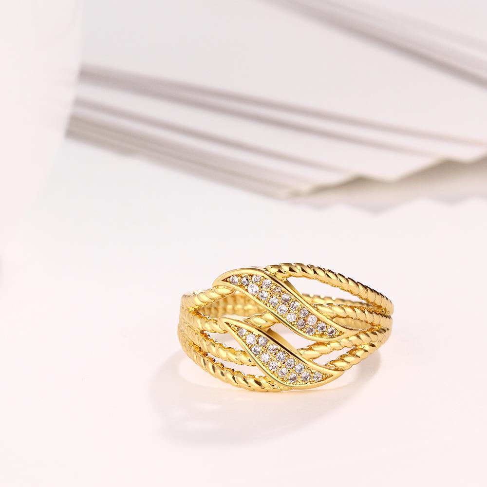Wholesale Trendy 24K Gold Plant White CZ Ring TGGPR223 3