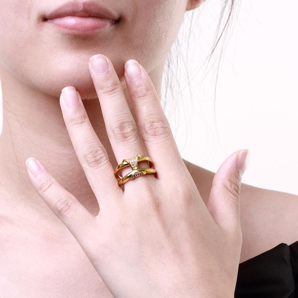 Wholesale Classic 24K Gold Geometric White CZ Ring TGGPR237 1