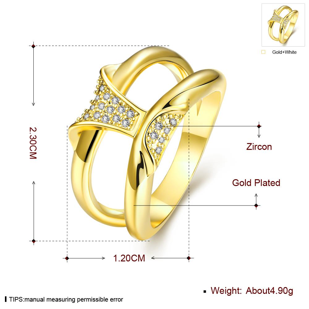 Wholesale Classic 24K Gold Geometric White CZ Ring TGGPR237 2