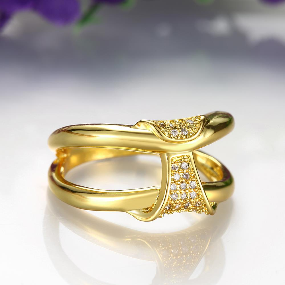 Wholesale Classic 24K Gold Geometric White CZ Ring TGGPR237 3