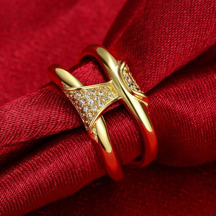 Wholesale Classic 24K Gold Geometric White CZ Ring TGGPR237 4