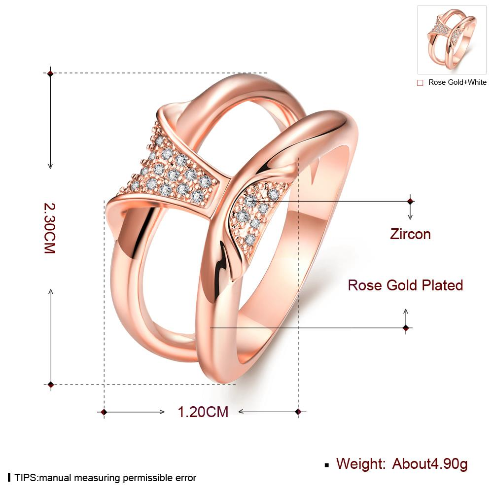 Wholesale Classic Rose Gold Geometric White CZ Ring TGGPR244 1