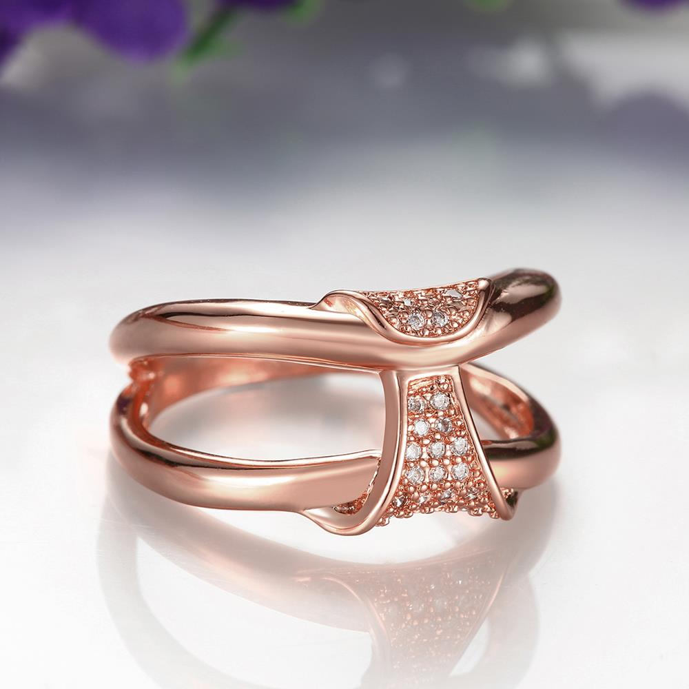 Wholesale Classic Rose Gold Geometric White CZ Ring TGGPR244 3