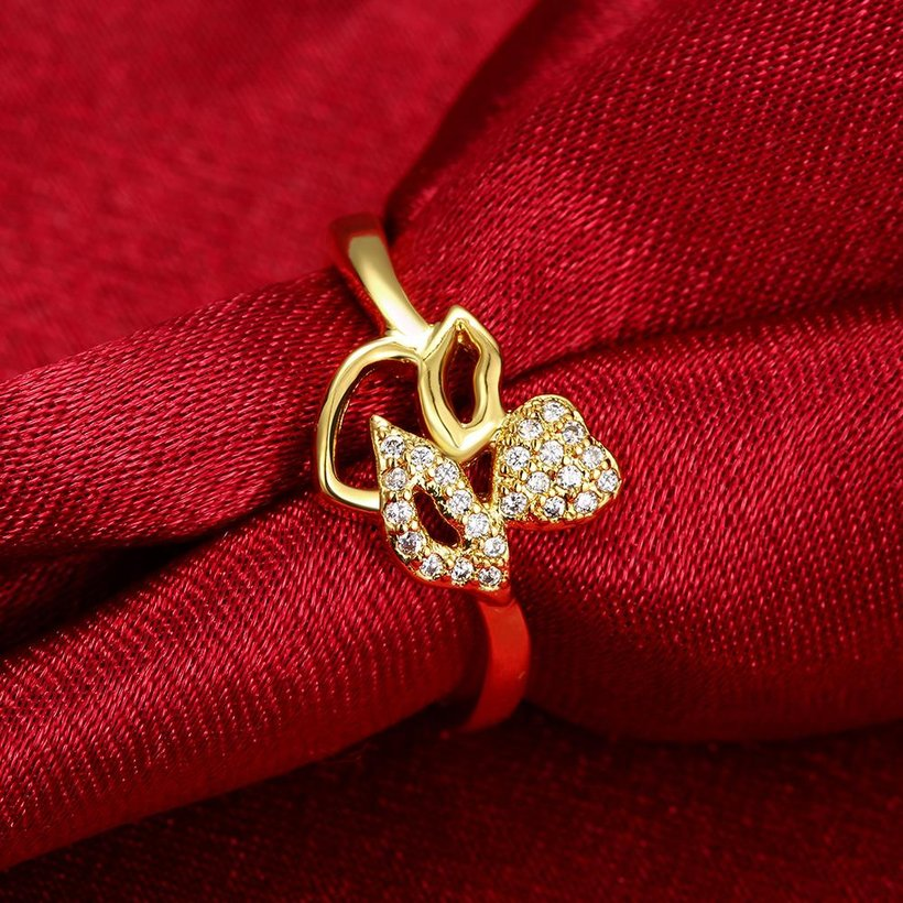Wholesale Romantic 24K Gold Plant White CZ Ring TGGPR251 0