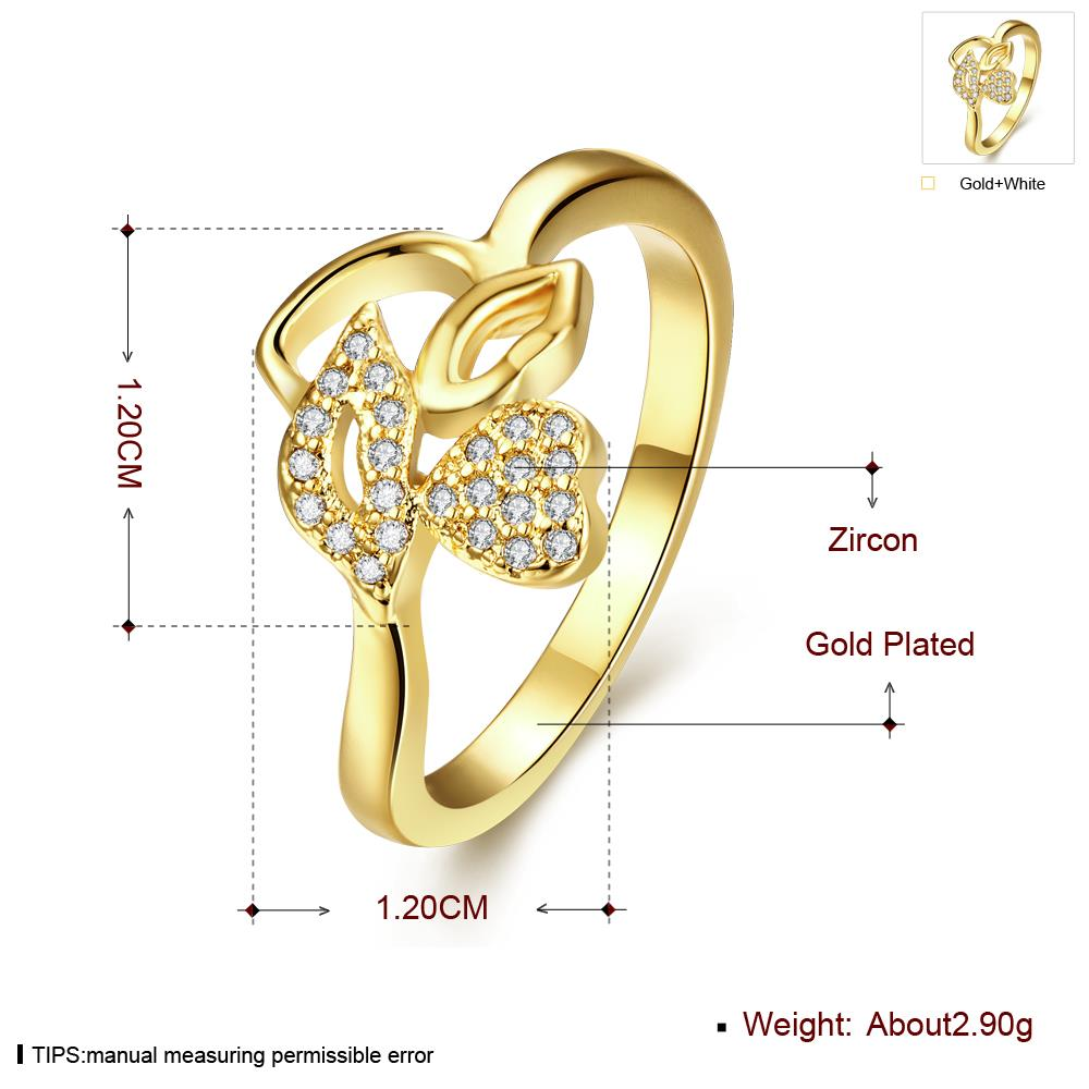 Wholesale Romantic 24K Gold Plant White CZ Ring TGGPR251 1